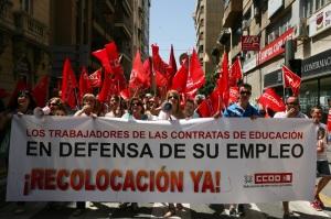 Trabajadores de contratas de institutos en la manifestación